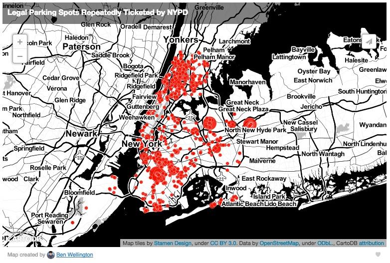 Map of illegal pedestrian ramp tickets