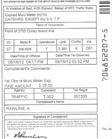 Traffic Ticket Nyc >> Where Is The Summons Number On A Nyc Parking Ticket