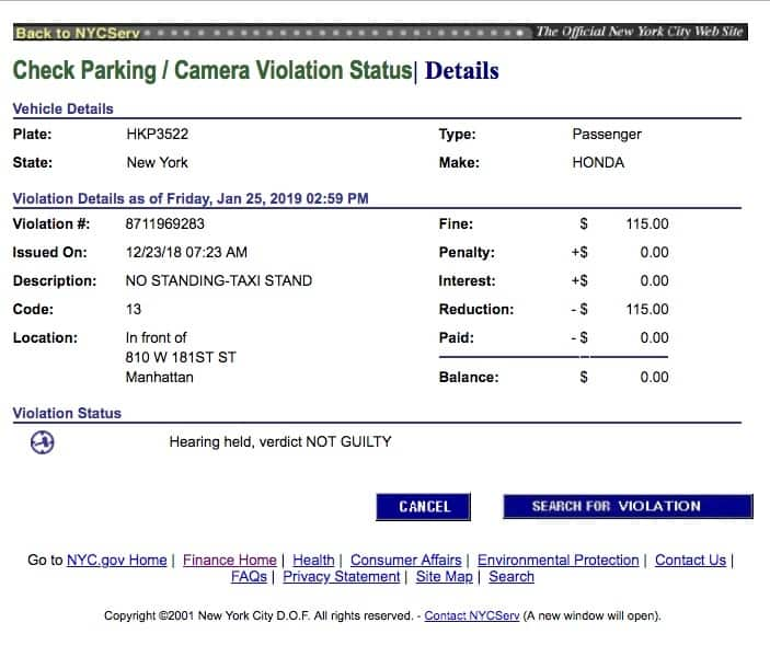 Client Success: I Beat a Taxi Stand Parking Ticket NYC
